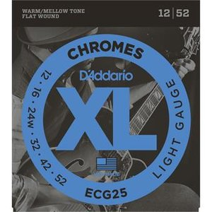 D'Addario ECG25 Chromes Flat Wound Light 12-52